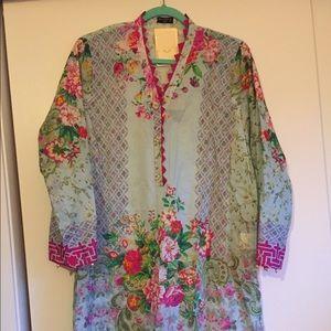 Agha Noor silk shirt